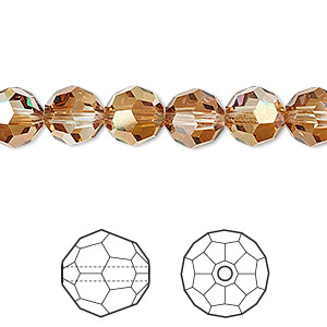 bead, swarovski crystals, crystal passions, crystal copper, 8mm faceted round (5000). sold per pkg of 12.