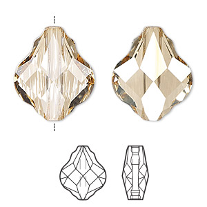 bead, swarovski crystals, crystal passions, crystal golden shadow, 10mm faceted baroque (5058). sold per pkg of 2.