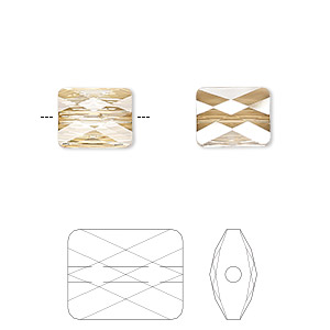 bead, swarovski crystals, crystal passions, crystal golden shadow, 10x8mm faceted mini rectangle (5055). sold per pkg of 24.