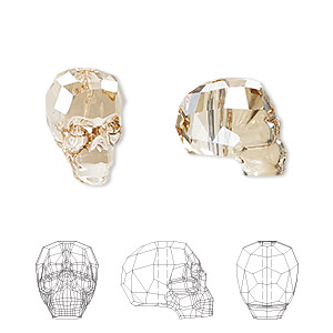 bead, swarovski crystals, crystal passions, crystal golden shadow, 14x13x10mm faceted skull (5750). sold individually.
