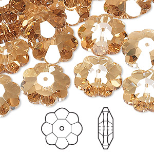 bead, swarovski crystals, crystal passions, crystal golden shadow, 14x5mm faceted marguerite lochrose flower (3700). sold per pkg of 144 (1 gross).