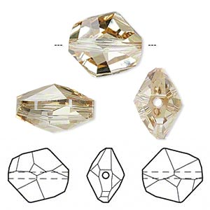 bead, swarovski crystals, crystal passions, crystal golden shadow, 16x14mm faceted cosmic (5523). sold per pkg of 24.