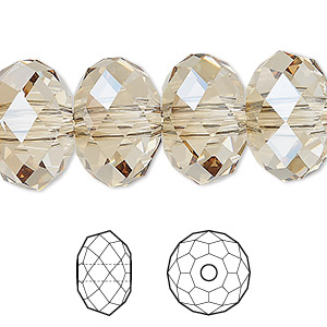 bead, swarovski crystals, crystal passions, crystal golden shadow, 18x12mm faceted rondelle with 3.5mm hole (5041). sold per pkg of 6.