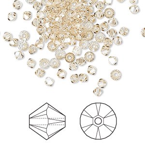 bead, swarovski crystals, crystal passions, crystal golden shadow, 3mm xilion bicone (5328). sold per pkg of 144 (1 gross).