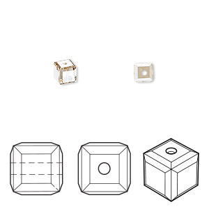 bead, swarovski crystals, crystal passions, crystal golden shadow, 4x4mm faceted cube (5601). sold per pkg of 12.