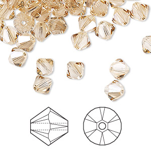 bead, swarovski crystals, crystal passions, crystal golden shadow, 6mm xilion bicone (5328). sold per pkg of 24.