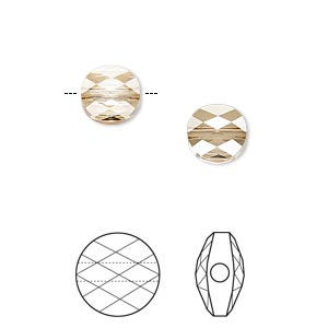 bead, swarovski crystals, crystal passions, crystal golden shadow, 8mm faceted mini round (5052). sold per pkg of 2.