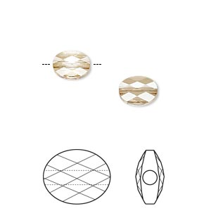 bead, swarovski crystals, crystal passions, crystal golden shadow, 8x6mm faceted mini oval (5051). sold per pkg of 2.