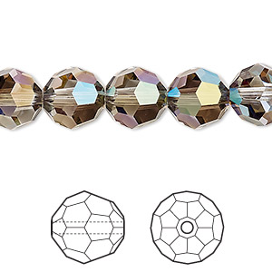 bead, swarovski crystals, crystal passions, crystal iridescent green, 10mm faceted round (5000). sold per pkg of 24.