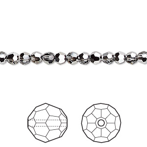 bead, swarovski crystals, crystal passions, crystal light chrome, 4mm faceted round (5000). sold per pkg of 12.