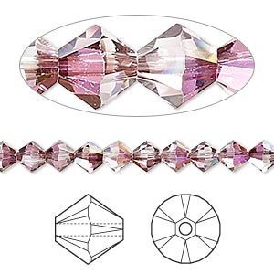 bead, swarovski crystals, crystal passions, crystal lilac shadow, 5mm xilion bicone (5328). sold per pkg of 144 (1 gross).