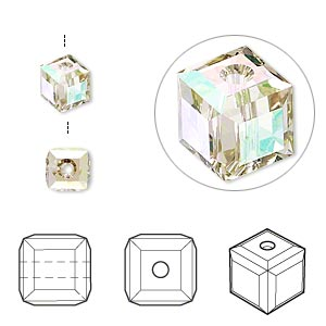 bead, swarovski crystals, crystal passions, crystal luminous green, 6x6mm faceted cube (5601). sold per pkg of 48.
