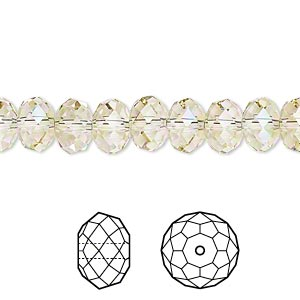 bead, swarovski crystals, crystal passions, crystal luminous green, 8x6mm faceted rondelle (5040). sold per pkg of 12.