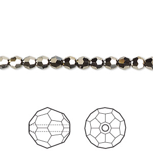 bead, swarovski crystals, crystal passions, crystal metallic light gold 2x, 4mm faceted round (5000). sold per pkg of 12.