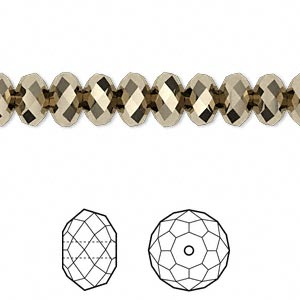 bead, swarovski crystals, crystal passions, crystal metallic light gold 2x, 8x6mm faceted rondelle (5040). sold per pkg of 12.