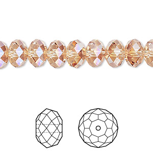 bead, swarovski crystals, crystal passions, crystal metallic sunshine, 8x6mm faceted rondelle (5040). sold per pkg of 144 (1 gross).