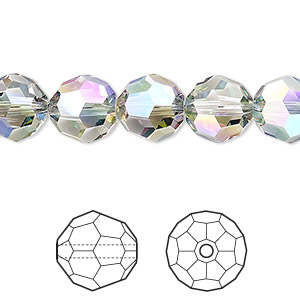 bead, swarovski crystals, crystal passions, crystal paradise shine, 10mm faceted round (5000). sold per pkg of 24.