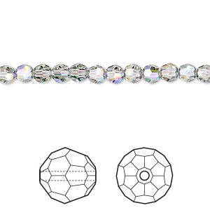 bead, swarovski crystals, crystal passions, crystal paradise shine, 4mm faceted round (5000). sold per pkg of 144 (1 gross).