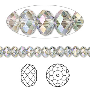 bead, swarovski crystals, crystal passions, crystal paradise shine, 6x4mm faceted rondelle (5040). sold per pkg of 12.