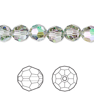 bead, swarovski crystals, crystal passions, crystal paradise shine, 8mm faceted round (5000). sold per pkg of 12.