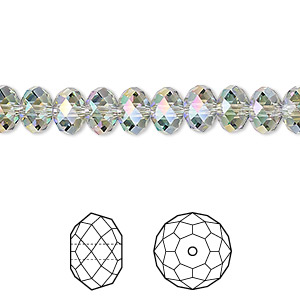 bead, swarovski crystals, crystal passions, crystal paradise shine, 8x6mm faceted rondelle (5040). sold per pkg of 144 (1 gross).
