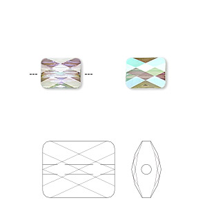 bead, swarovski crystals, crystal passions, crystal paradise shine, 8x6mm faceted mini rectangle (5055). sold per pkg of 2.