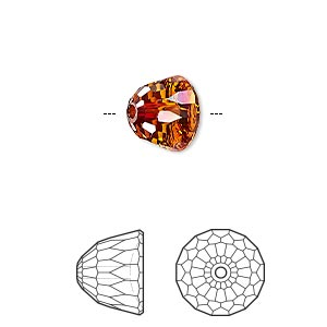 bead, swarovski crystals, crystal passions, crystal red magma, 10x8mm faceted dome small (5542). sold per pkg of 6.