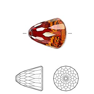 bead, swarovski crystals, crystal passions, crystal red magma, 15x13.5mm faceted dome large (5541). sold per pkg of 6.