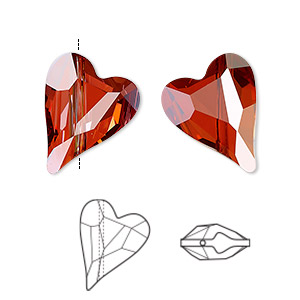 bead, swarovski crystals, crystal passions, crystal red magma, 17x13mm diagonally drilled right- and left-facing faceted wild heart (5743). sold per pkg of 72.