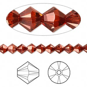 bead, swarovski crystals, crystal passions, crystal red magma, 5mm xilion bicone (5328). sold per pkg of 24.