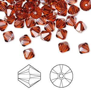 bead, swarovski crystals, crystal passions, crystal red magma, 6mm faceted bicone (5301). sold per pkg of 24.