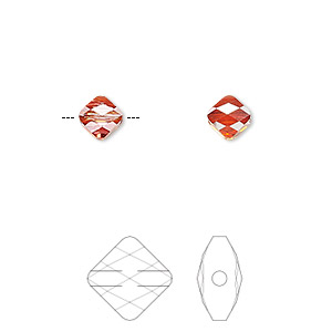 bead, swarovski crystals, crystal passions, crystal red magma, 6x6mm faceted mini rhombus (5054). sold per pkg of 2.