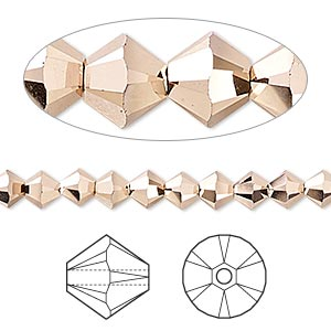 bead, swarovski crystals, crystal passions, crystal rose gold 2x, 5mm xilion bicone (5328). sold per pkg of 24.