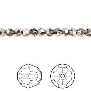 bead, swarovski crystals, crystal passions, crystal rose gold, 4mm faceted round (5000). sold per pkg of 144 (1 gross).
