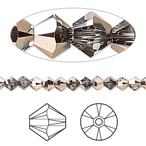 bead, swarovski crystals, crystal passions, crystal rose gold, 4mm xilion bicone (5328). sold per pkg of 48.