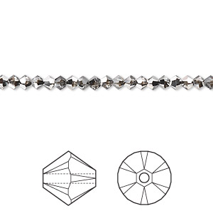 bead, swarovski crystals, crystal passions, crystal silver night, 3mm xilion bicone (5328). sold per pkg of 144 (1 gross).
