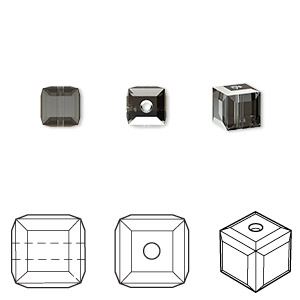 bead, swarovski crystals, crystal passions, crystal silver night, 6x6mm faceted cube (5601). sold per pkg of 48.
