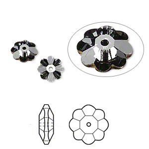 bead, swarovski crystals, crystal passions, crystal silver night, foil back, 8x3mm faceted marguerite lochrose flower (3700). sold per pkg of 144 (1 gross).