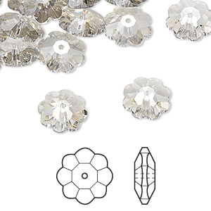 bead, swarovski crystals, crystal passions, crystal silver shade, 10x3.5mm faceted marguerite lochrose flower (3700). sold per pkg of 12.