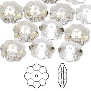 bead, swarovski crystals, crystal passions, crystal silver shade, 12x4mm faceted marguerite lochrose flower (3700). sold per pkg of 12.