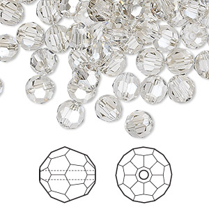 bead, swarovski crystals, crystal passions, crystal silver shade, 6mm faceted round (5000). sold per pkg of 144 (1 gross).