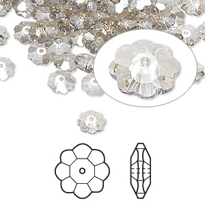 bead, swarovski crystals, crystal passions, crystal silver shade, 6x2mm faceted marguerite lochrose flower (3700). sold per pkg of 720 (5 gross).