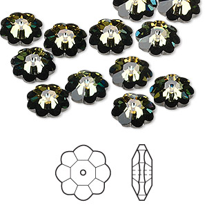 bead, swarovski crystals, crystal passions, crystal tabac, foil back, 10x3.5mm faceted marguerite lochrose flower (3700). sold per pkg of 12.