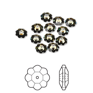 bead, swarovski crystals, crystal passions, crystal tabac, foil back, 6x2mm faceted marguerite lochrose flower (3700). sold per pkg of 12.