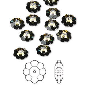 bead, swarovski crystals, crystal passions, crystal tabac, foil back, 8x3mm faceted marguerite lochrose flower (3700). sold per pkg of 12.