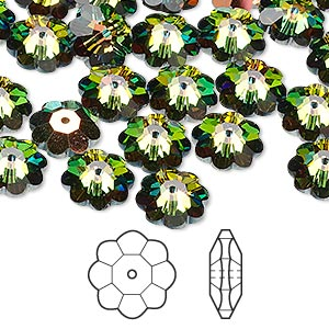 bead, swarovski crystals, crystal passions, crystal vitrail medium, 10x3.5mm faceted marguerite lochrose flower (3700). sold per pkg of 144 (1 gross).