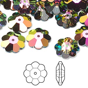 bead, swarovski crystals, crystal passions, crystal vitrail medium, 12x4mm faceted marguerite lochrose flower (3700). sold per pkg of 144 (1 gross).