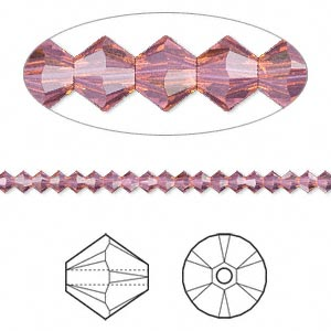 bead, swarovski crystals, crystal passions, cyclamen opal, 3mm xilion bicone (5328). sold per pkg of 144 (1 gross).