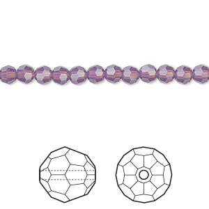 bead, swarovski crystals, crystal passions, cyclamen opal, 4mm faceted round (5000). sold per pkg of 144 (1 gross).
