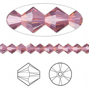 bead, swarovski crystals, crystal passions, cyclamen opal, 5mm xilion bicone (5328). sold per pkg of 144 (1 gross).